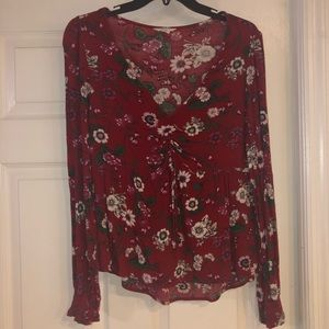 Floral/Maroon Long Sleeved Blouse